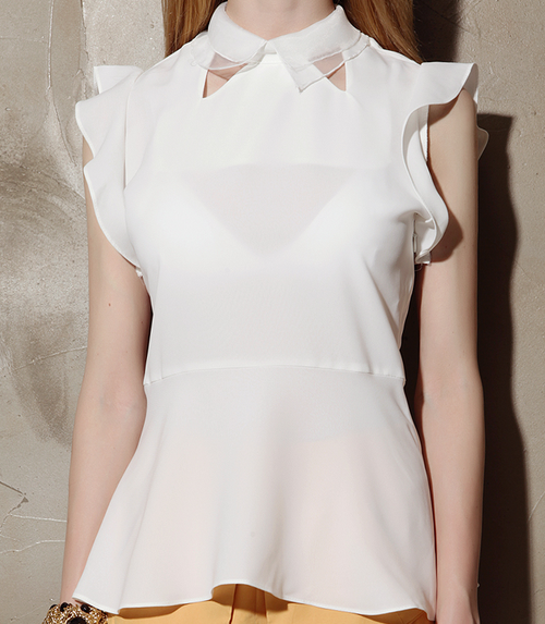 Collar Insert Angelic Peplum Blouse