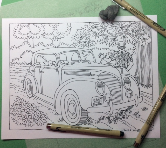 Drive Old Cars But Definitely Not Draw Them However Inking My Dads 1938 Ford As A Coloring Book Page Turned Out To Be Different Gift For The Man