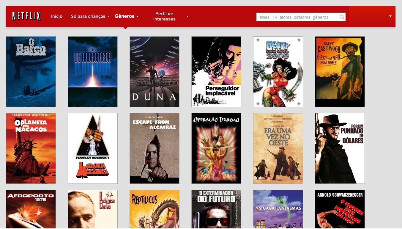 Exemplo da Lista de Filmes da Netflix