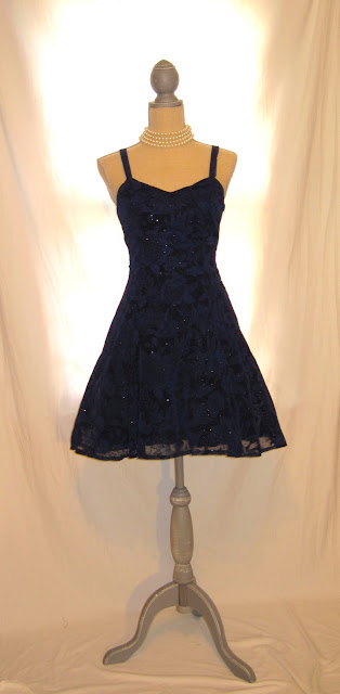 Rich Blue and Sparkling Silver Tinsel Colors, Wedding Special Occasion Party Prom Women's Dress