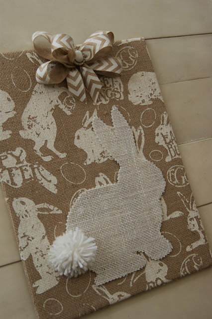 burlap Easter bunny wall art