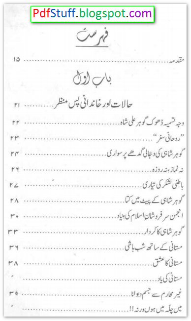 contents of the Urdu book Daur-e-Jadeed Ka Maseelma Kazzab Gohar Shahi