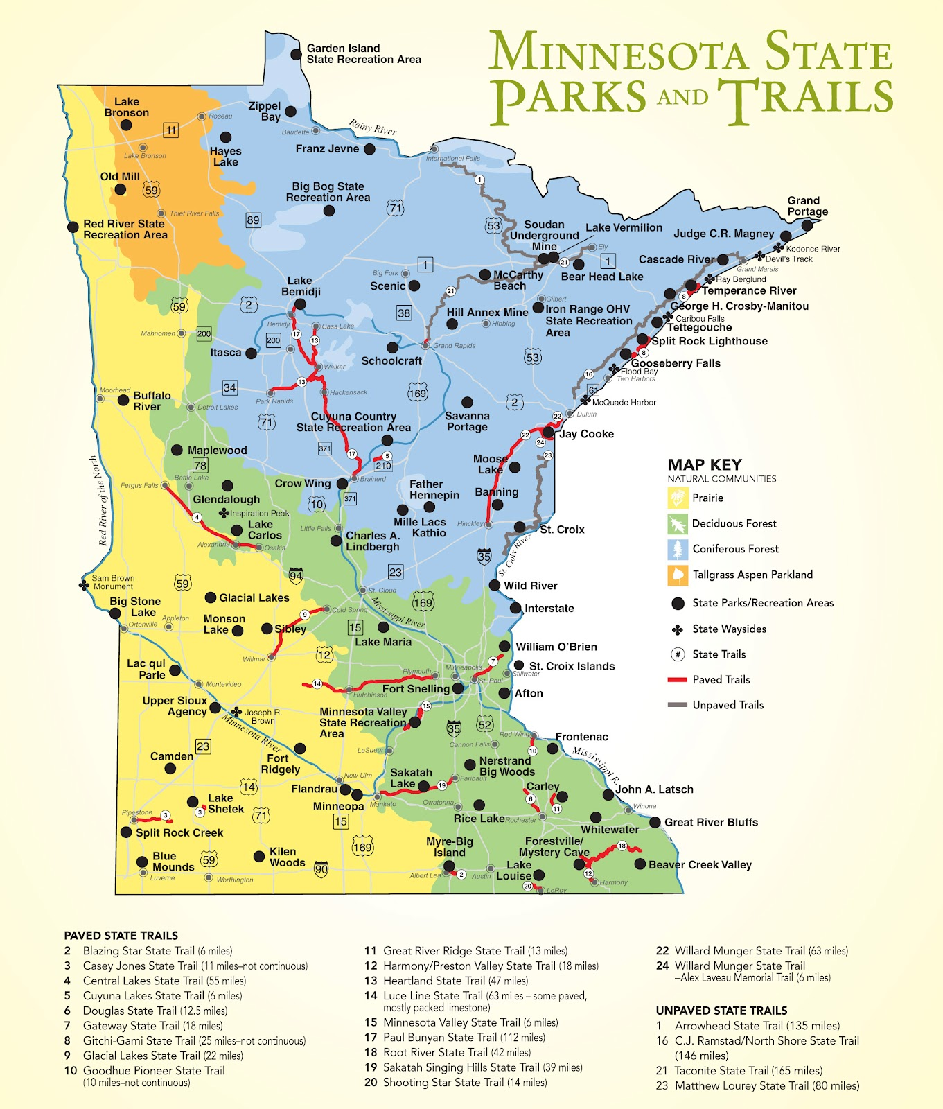MN Bike Trail Navigator Minnesotas State Parks Provide Many - State of minnesota map