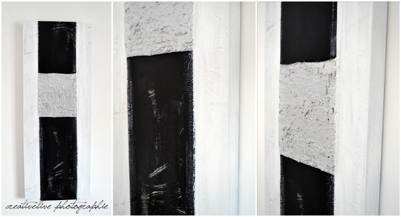 Acrylbild schwarz/weiß und weiße Blumen  creativLIVE