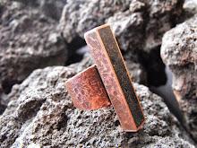 Anillo cobre envejecido, piedra volcánica, tamaño ajustable¡¡  (245)