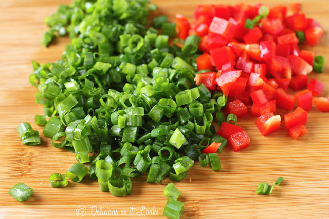 Scallions and Red Bell Pepper for Low-FODMAP Turkey Tetrazzini
