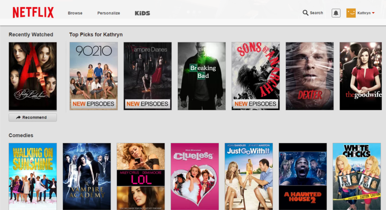 Netflix - search page. Showing pretty little liars, 90210, vampire diaries, breaking bad, sons of anarchy, dexter, the goodwife, walking on sunshine, vampire academy, lol, clueless, just go with it, a haunted house 2, white chicks