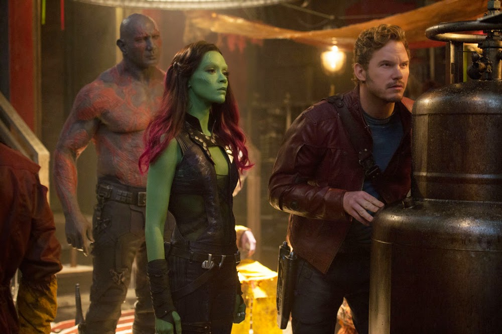 Dave Bautista, Zoe Saldana, and Chris Pratt in Guardians of the Galaxy