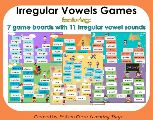 Irregular vowel games