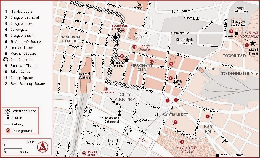 tourist map of glasgow walking tour