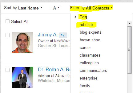 send a message to a LinkedIn tagged group, tagging LinkedIn connections,