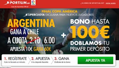 Sportium Super cuota 6 Argentina gana final Chile Copa America 2015 4 julio