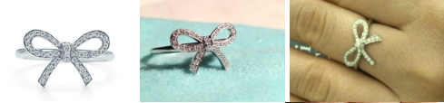 bow ring, infinity bow ring, rhodium finish, sterling silver