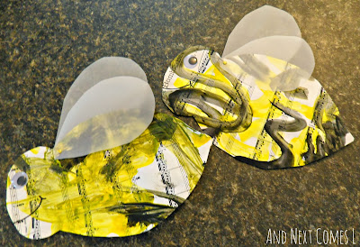 Painting to music bumblebee craft: A Flight of the Bumblebee music appreciation activity for kids from And Next Comes L