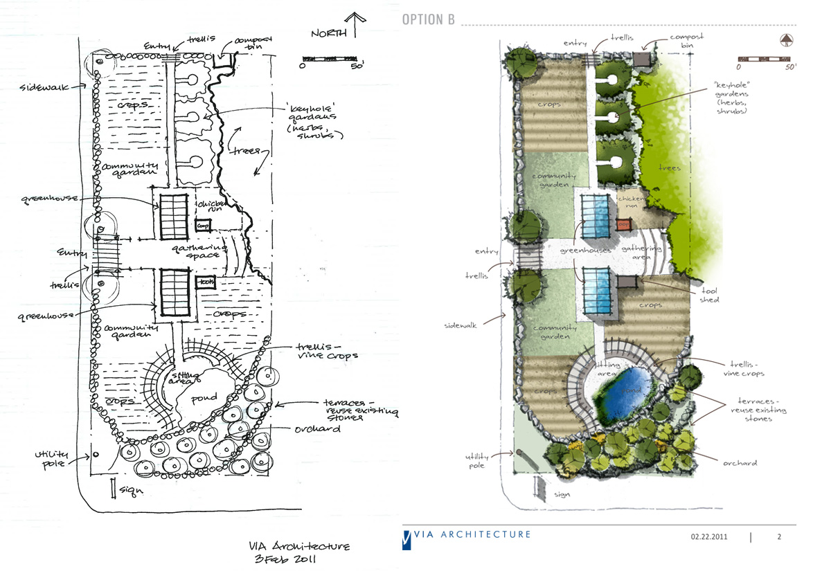 Hand Rendered Site Plans
