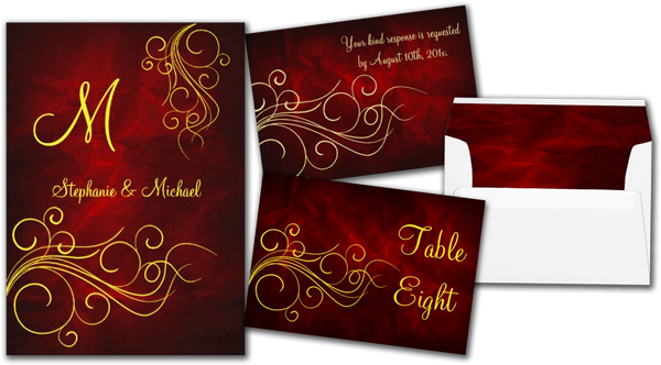 Elegant Red Gold Monogram Wedding Invitation