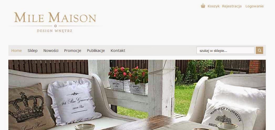 Sklep internetowy z dekoracjami wnętrz Mile Maison