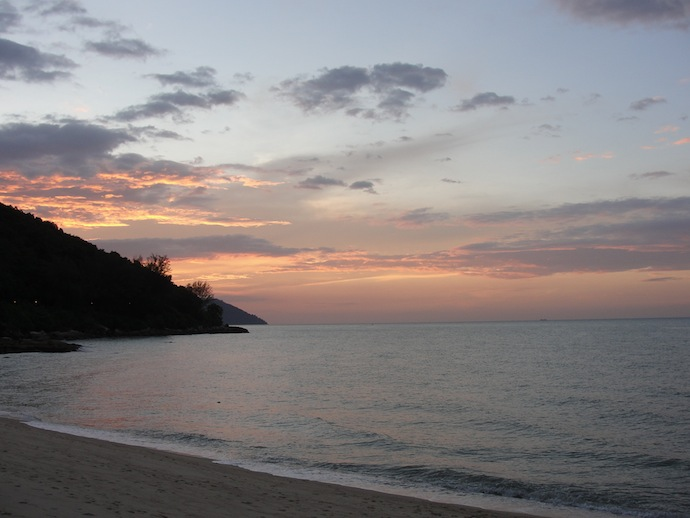 beach at sunset in penang malaysia