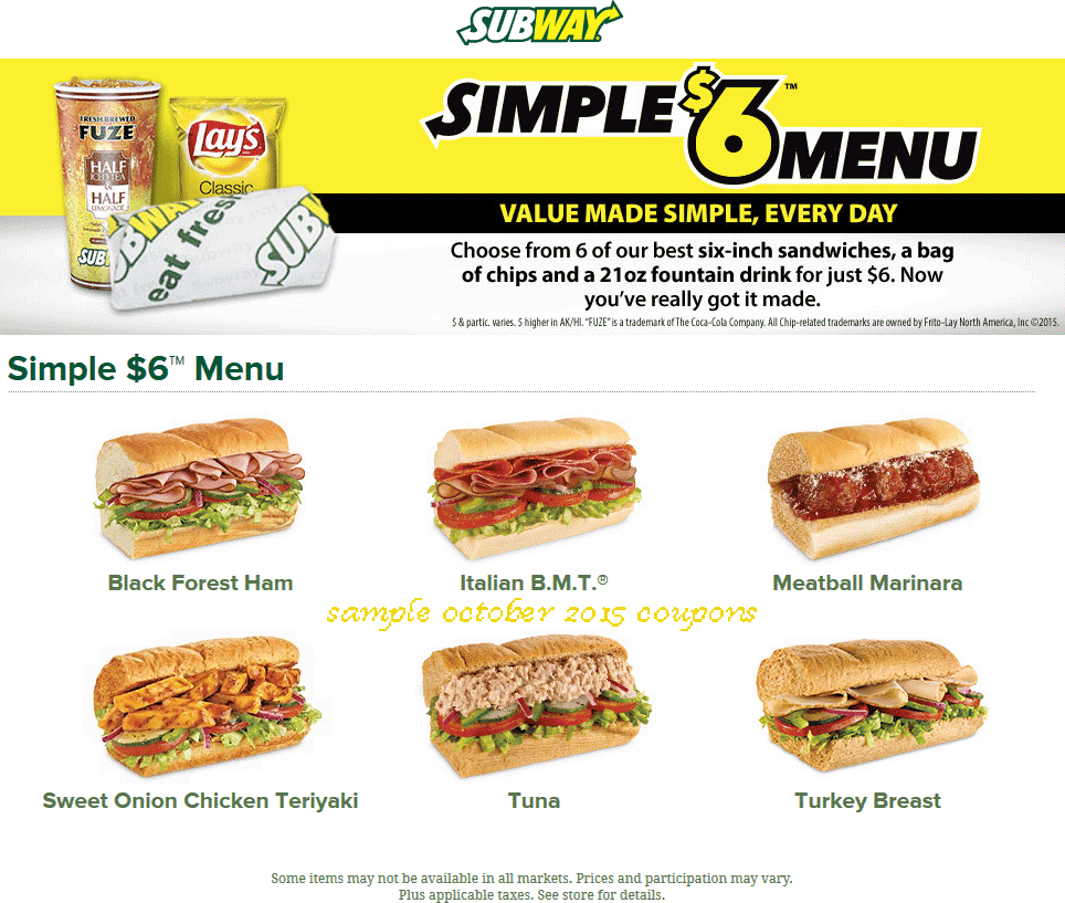 Printable Coupons: Subway Coupons