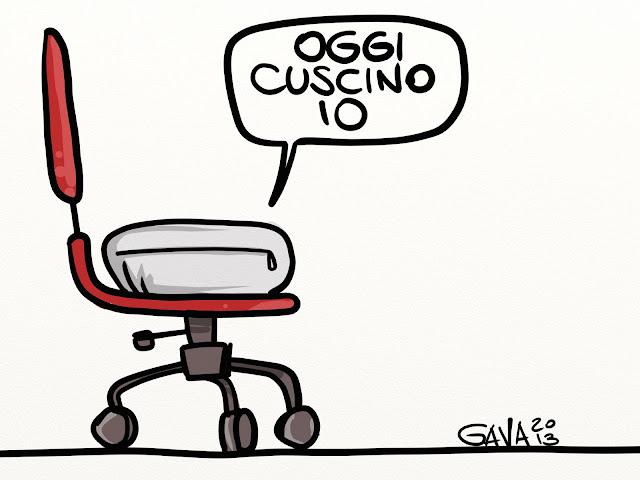 consenta berlusconi cuscino rotelle gava satira poltrona ufficio intervista vignette