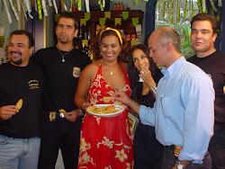 D. Jura, personagem da novela O Clone nos recebendo para gravação da cartilha O Brasileirinho