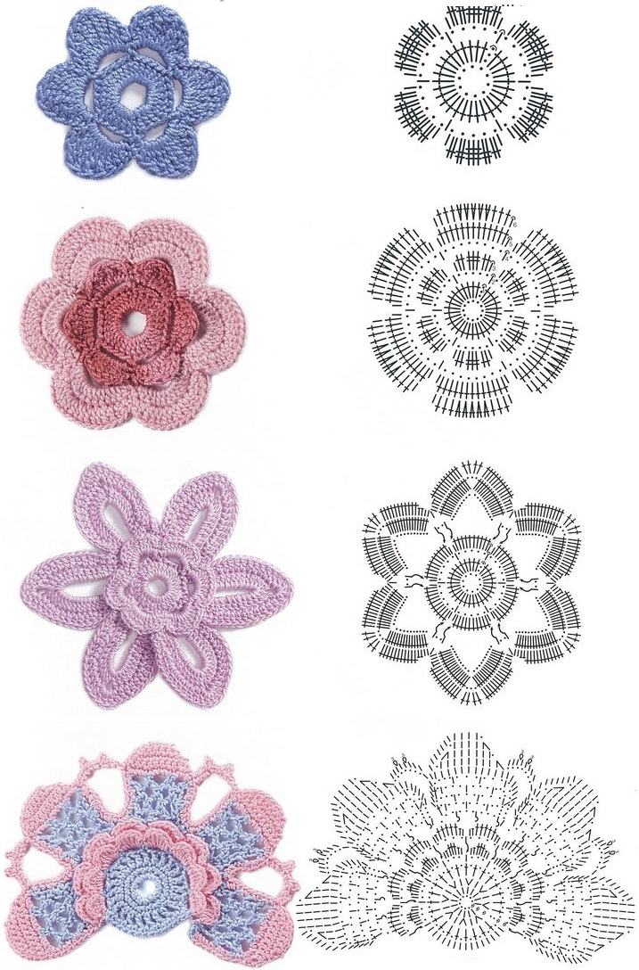 Crochet Patterns Diagram : Share Knit and Crochet: Crochet flowers diagram 3