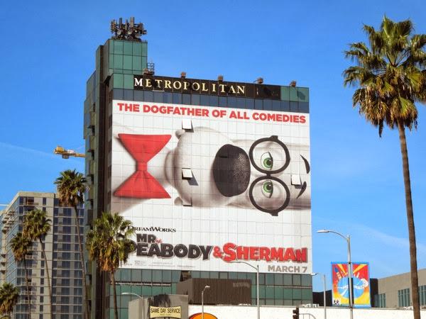 Giant Mr Peabody Sherman movie billboard Hollywood