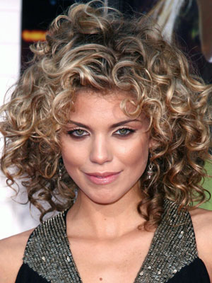 Annalynne McCord medium long curly hairstyle