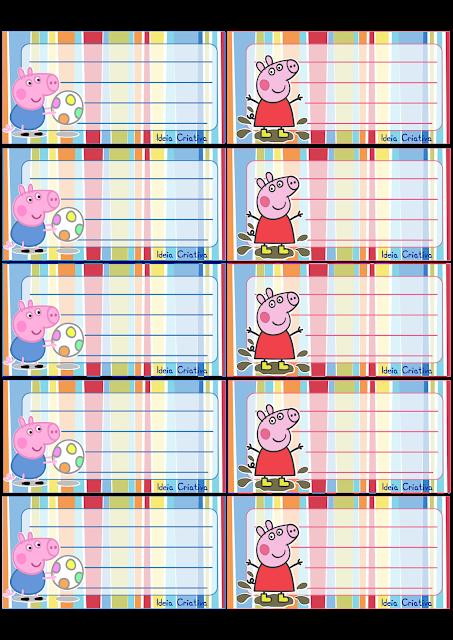 Etiquetas para caderno Peppa Pig