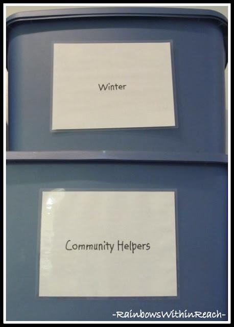 photo of: Organization Tubs by Theme (Classroom Organization RoundUP via RainbowsWithinReach)