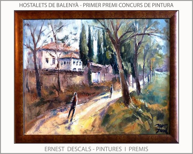 HOSTALETS DE BALENYÀ-PINTURA-PREMIS-CONCURSOS-PREMIOS-AJUNTAMENT-PINTURES-PAISATGES-CATALUNYA-PINTOR-ERNEST DESCALS-