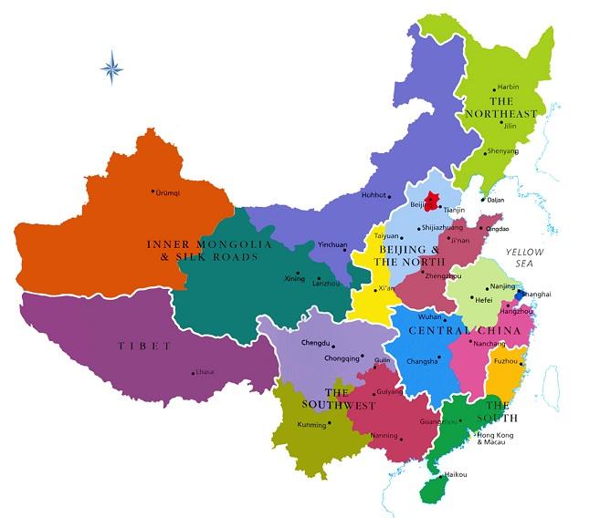 Karte von asien region provinz