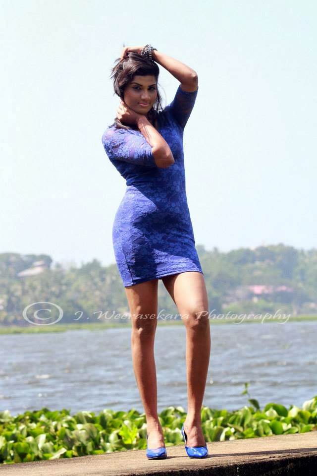 Thilini Gunasekara blue short dress