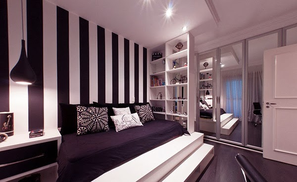Wonderful Pink And White Striped Bedroom Walls Images Best