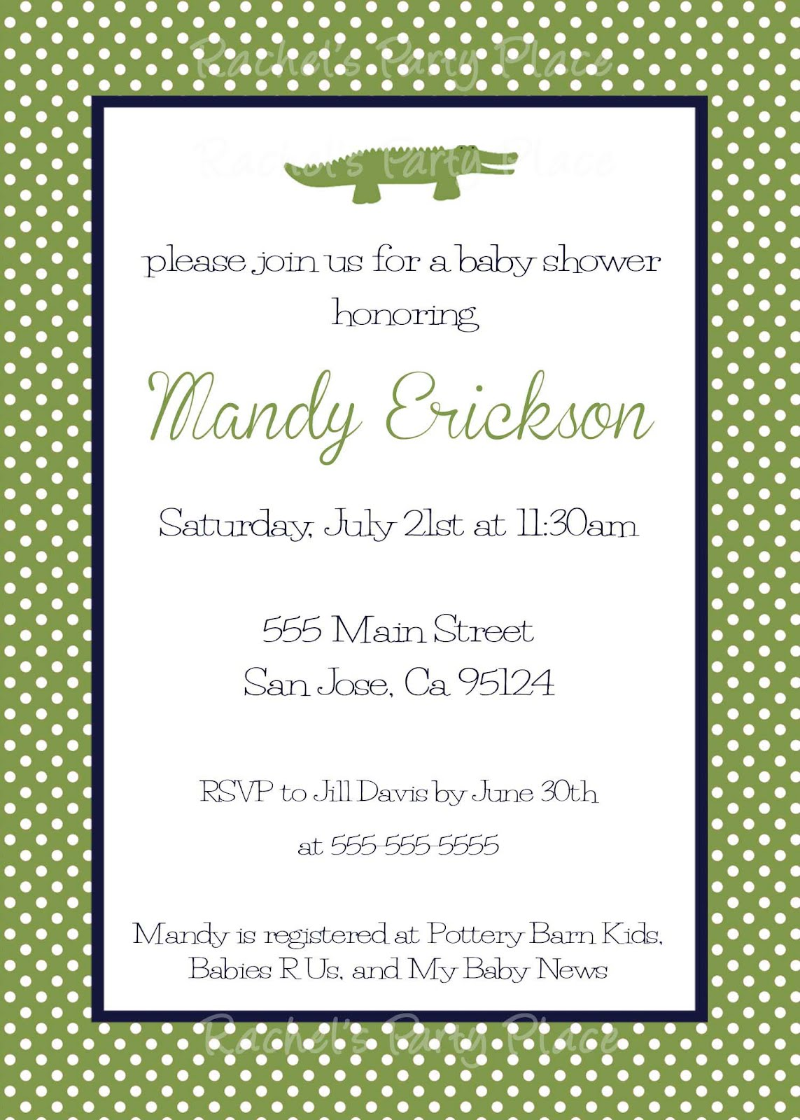 Rachel\'s Party Place: Preppy Alligator Baby Shower