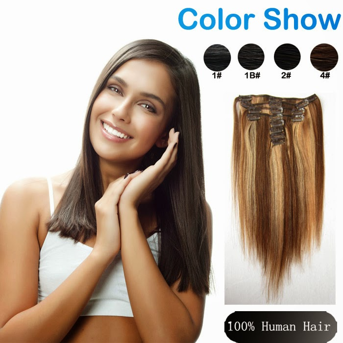 Remy Brazilian Clip In Extensions Virgin Human Hair Clip-Ins  4 27 Hair  Color 9pcs set 120g Straight Weft For Black Women dbde52e22