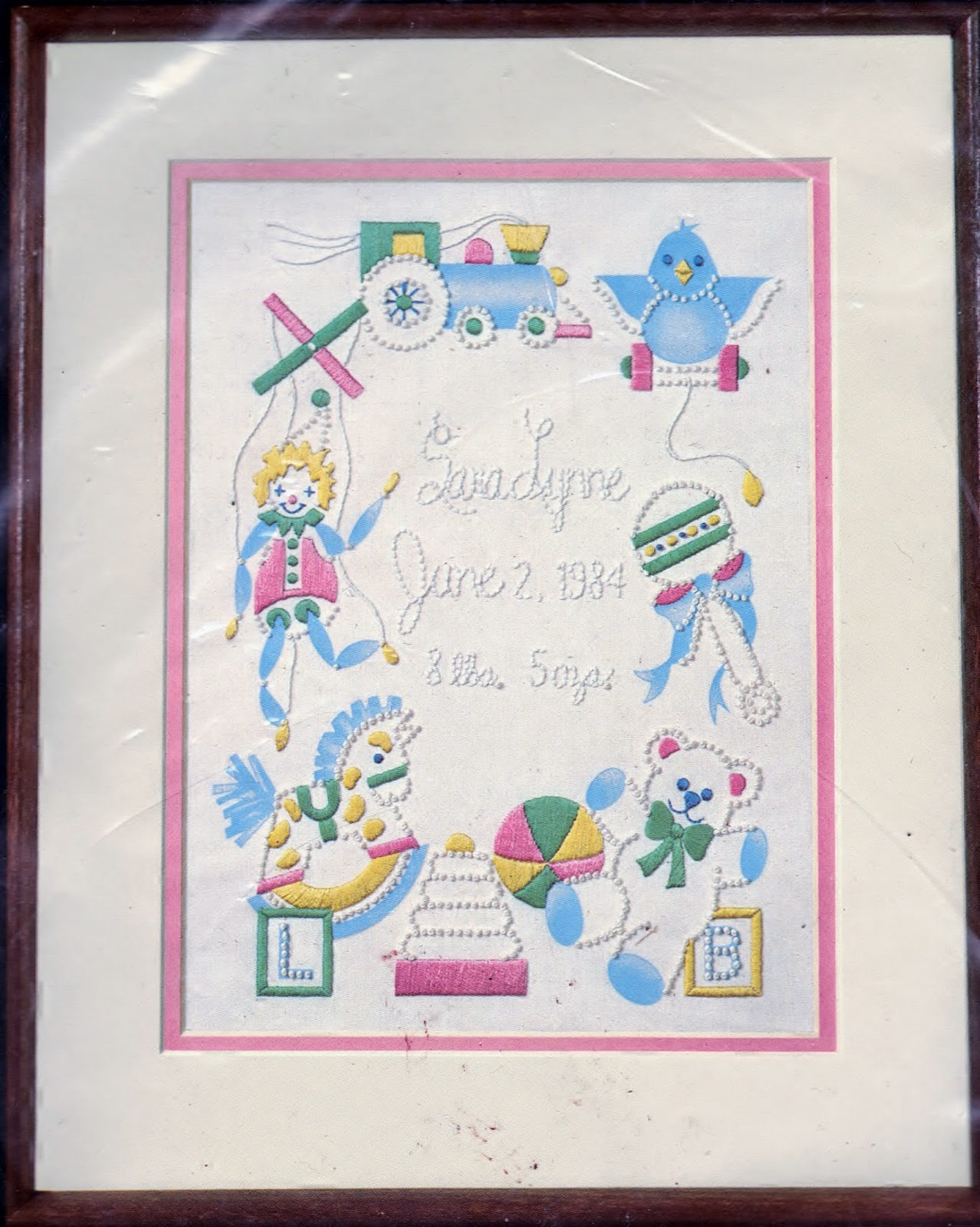Candlewicking https://www.etsy.com/listing/218957272/candlewicking-favorite-toys-birth-record