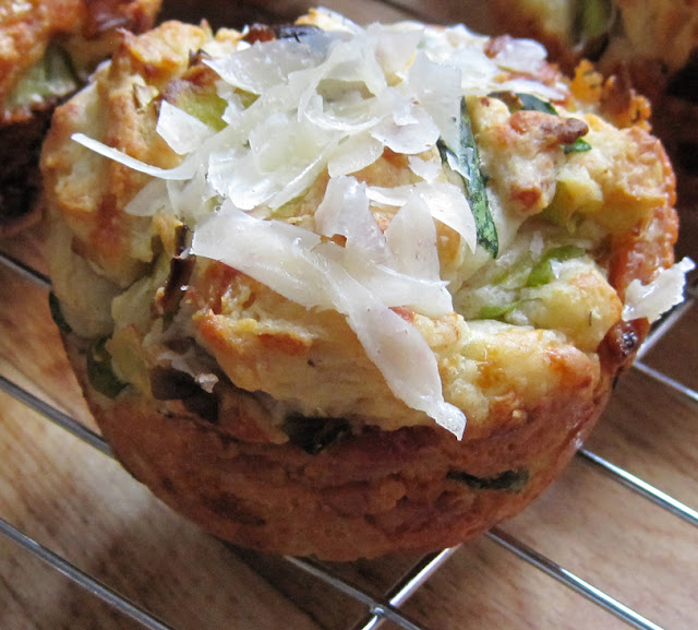 Cheesy Leek and Bacon Muffins - Easy Recipe - A Glug of Oil
