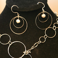 Infinity: necklace, bracelet, earrings set - Sterling silver, freshwater pearls, wire wrapped :: All the Pretty Things