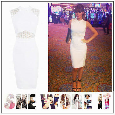 Celeb Boutique, Chloe Sims, Collared, Crochet Detail, Floral Crochet, Knee Length, Pencil Dress, The Only Way Is Essex, The Only Way is Vegas, TOWIE, White,