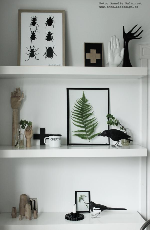 diy, tavla, tavlor med ormbunksblad, svart och vitt, svartvit, svartvitt i inredningen, korp, webbutik, webbutiker, webshop, plåtmugg, kors, gröna kvistar, inredningsblogg, blogg, bloggar, hylla, kök, köket