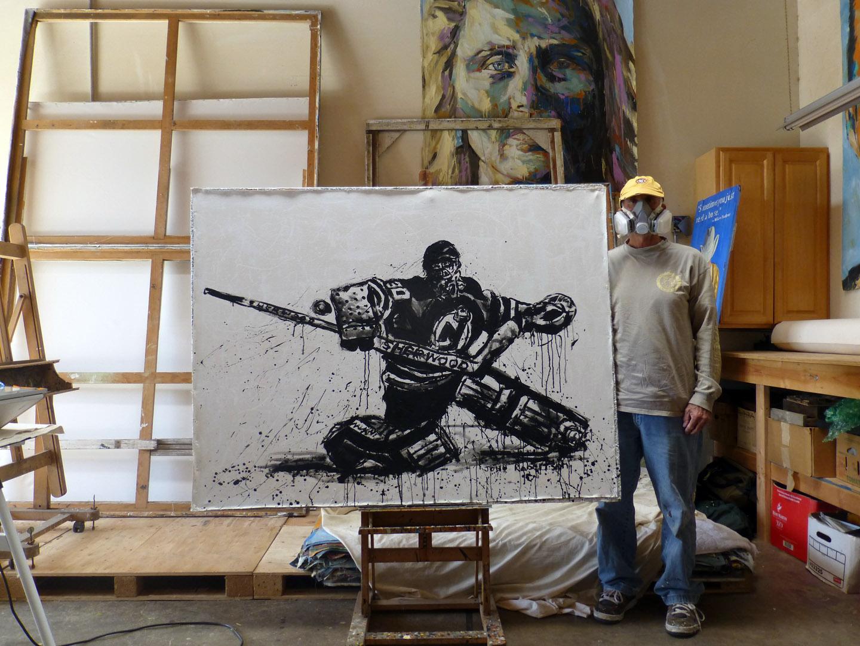 New Jersey Devils Hockey Goalie Martin Brodeur Sports Painting