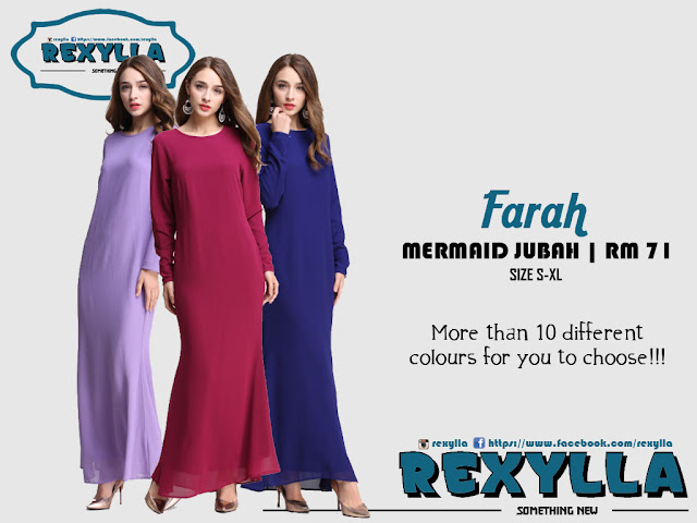 rexylla, jubah, mermaid jubah, farah collection