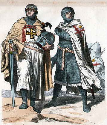 Two crusaders, dressed for battle, their garb emblazoned with crosses