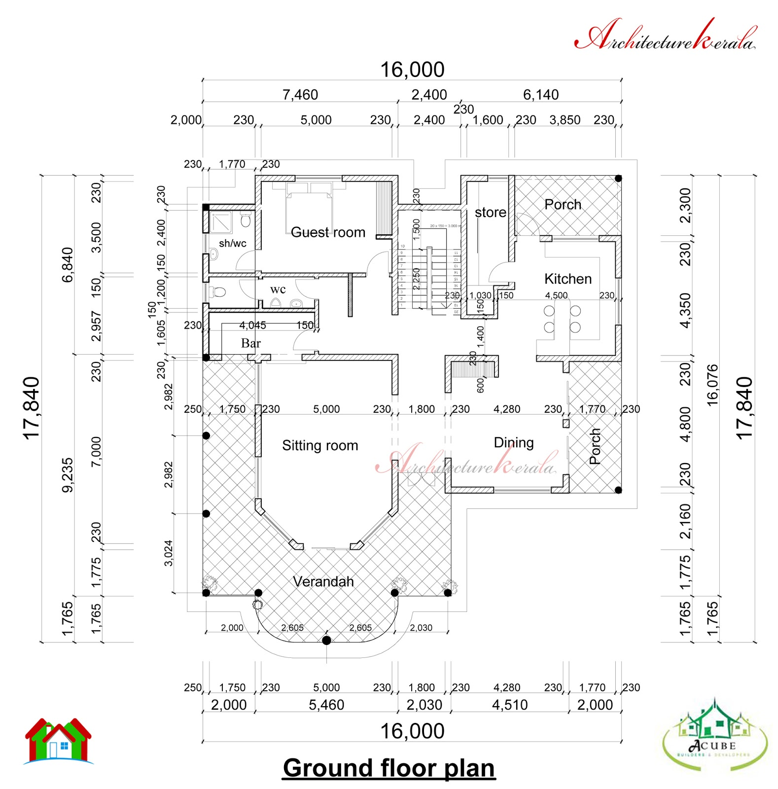 Double storied kerala house plan and elevation for Kerala floor plans