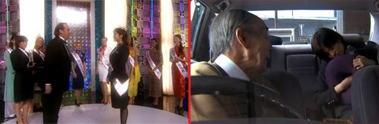 Misaki being congratulated at a pageant for World's Best Cabin Attendant / The taxi driver wakes the sleeping Misaki.