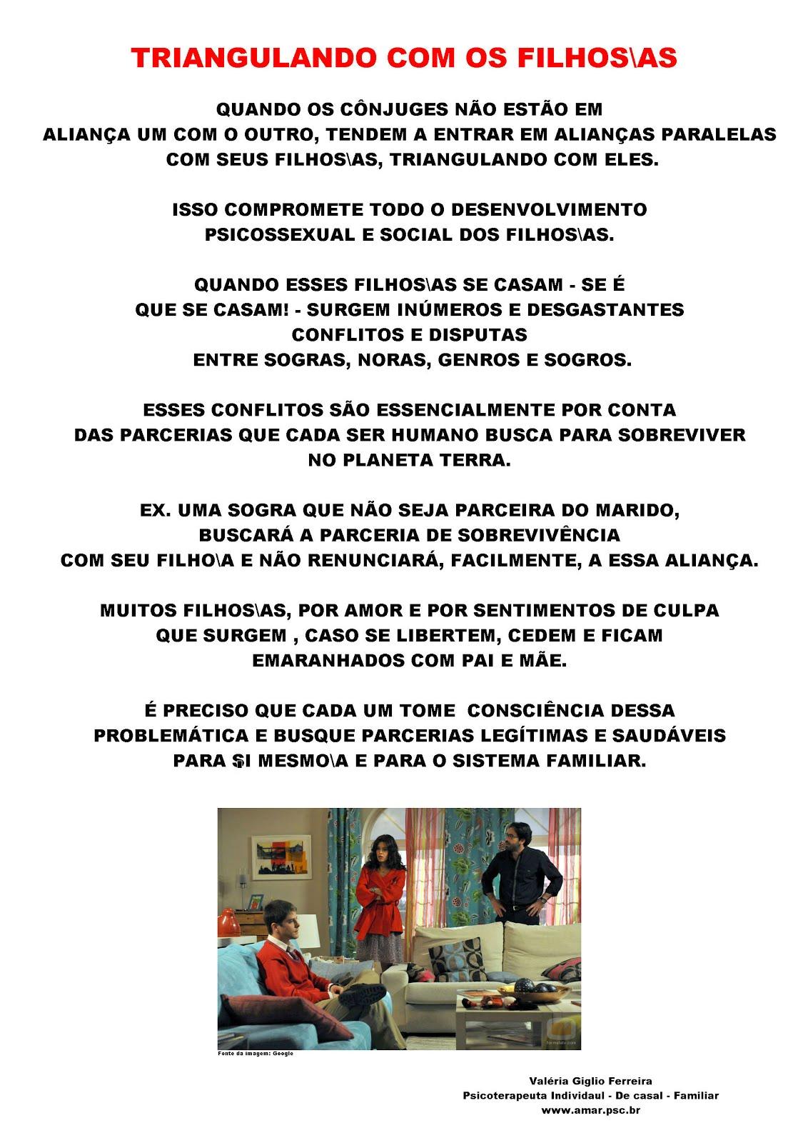 TRIANGULANDO COM OS FILHOS\AS