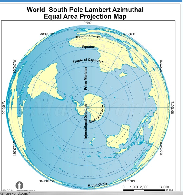 Conclusive evidence turning around antarctica world south pole lambert azimuthal equal area projection map south pole lambert azimuthal equal area projection world map gumiabroncs Gallery