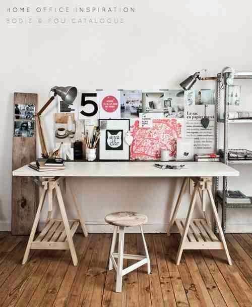Białe biurko na drewnianych nogach, metalowy regał, metalowe lampki biurowe