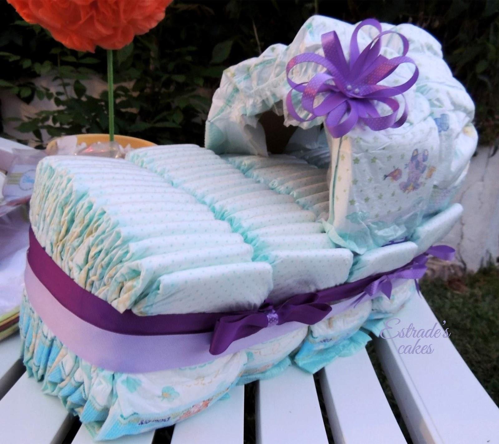 baby shower lila - cuna pañales